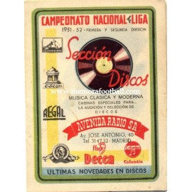 Spanish League 1ª & 2º Division 1951-1952 publicity football calendar