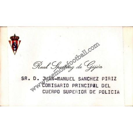Tarjeta de visita del Sporting de Gijón 1980