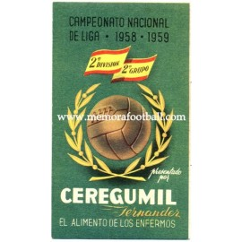 Spanish League 2ª Division 1958-1959 publicity football calendar