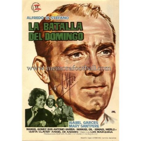 """Programa de mano de cine ALFREDO DI STEFANO """"La batalla del Domingo"""" (1963) firmado"""