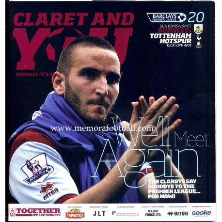 Burnley v Tottenham Hotspur - 09-05-2010 Premier League programme