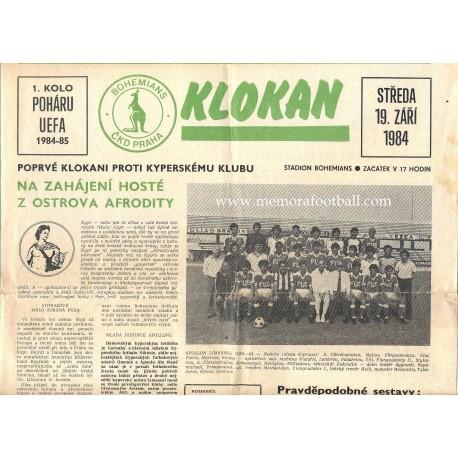 Bohemians CKD Praha v Apollon Limassol 19.09.1984 UEFA Cup programme