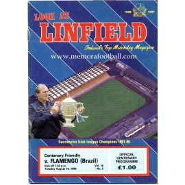Programa del partido Linfield v Flamengo 19-08-1986 partido del Centenario
