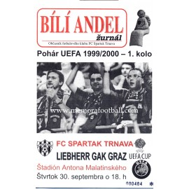 FC Spartak Trnava v Liebherr Gak Graz 30-09-1999 UEFA Cup programme