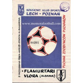 Lech Poznań v Flamurtari Vlore 05-10-1988 UEFA Cup programme