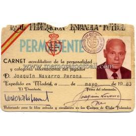 """""""Joaquin Navarro"""" Spanish FA 1983 Identity card"""