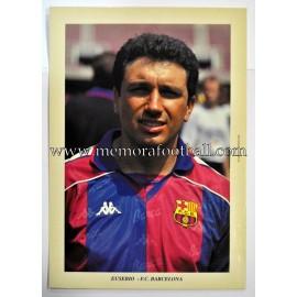"""Tarjeta postal de gran tamaño """"EUSEBIO"""" FC Barcelona 1990s"""