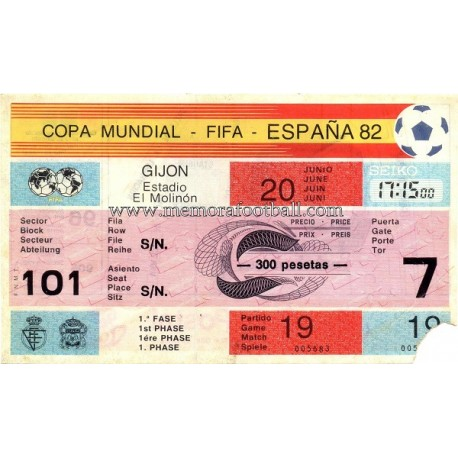 West Germany vs Chile 1982 FIFA World Cup ticket