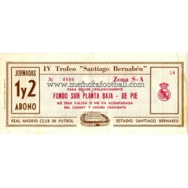 IV Santiago Bernabeu Trophy 1982 ticket