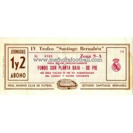 IV Santiago Bernabeu Trophy 1982 ticket