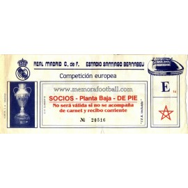 Real Madrid vs Juventus 22-10-1986 Champions League ticket