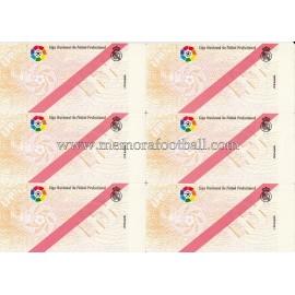6 Entradas del Real Madrid CF sin imprimir de la LNFP 1990s