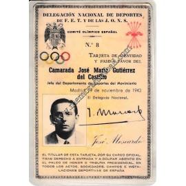 Carnet de Delegado Nacional de Deportes de José María Gutierrez del Castillo, 1943