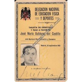 Carnet de Jefe Nacional Obra Educativa y Descanso de José María Gutierrez del Castillo, 1963