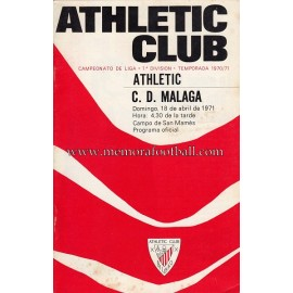 Programa del partido Athletic Club vs CD Málaga 18-04-71