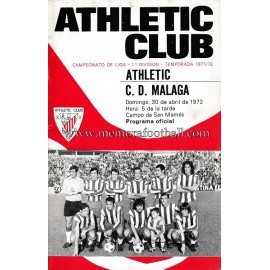 Programa del partido Athletic Club vs CD Málaga 30-04-72