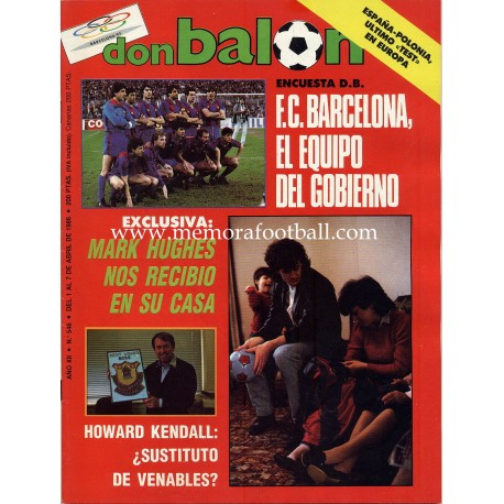 DON BALON (Spanish football magazine) nº546 01th-07th Apr 1986