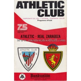 Programa del partido Athletic Club vs Real Zaragoza 1973/74