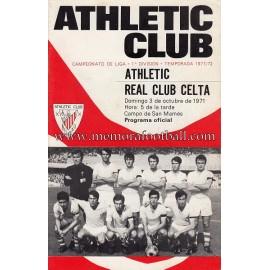 Programa del partido Athletic Club vs Real Club Celta 03-10-71