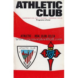 Programa del partido Athletic Club vs Real Club Celta 1973/1974