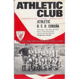 Programa del partido Athletic Club vs Deportivo de la Coruña 02-04-72