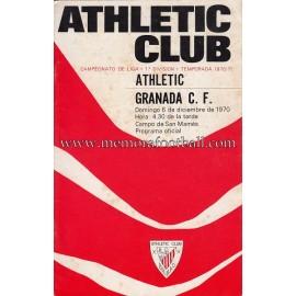 Athletic Club vs Granada CF 06-12-1970 official programme
