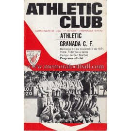 Athletic Club vs Granada CF 21-11-1971 programa oficial