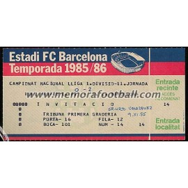 Entrada FC Barcelona vs Real Madrid LFP 09-11-1985