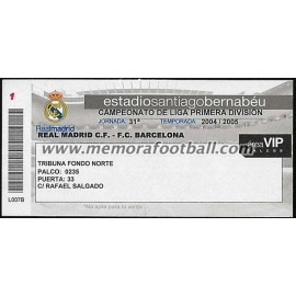 Real Madrid CF vs FC Barcelona 2004/2005 Spanish League VIP ticket