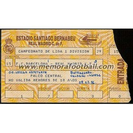 Entrada Real Madrid vs FC Barcelona 08-03-1986 LFP