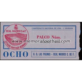 Entrada Real Madrid vs UD Las Palmas 13-01-1980 LFP
