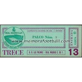 Real Madrid vs UD Las Palmas 28-02-1981 LFP ticket