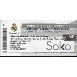 Entrada Real Madrid vs Deportivo de la Coruña 26-03-2006 LFP