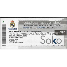 Real Madrid vs Deportivo de la Coruña 26-03-2006 Spanish League ticket