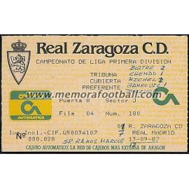 Real Zaragoza vs Real Madrid 13-09-1987 ticket