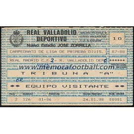Entrada Real Valladolid vs Real Madrid 24-01-1988