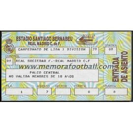 Entrada Real Madrid vs Real Sociedad 22/12/1985 LFP