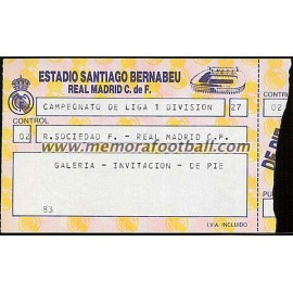Real Madrid vs Real Sociedad 18/09/1988 Spanish League ticket