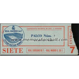 Entrada Real Madrid vs Real Sociedad 30-12-1978 LFP