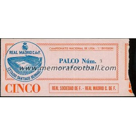 Entrada Real Madrid vs Real Sociedad 09-11-1980 LFP