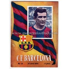 Programa CF Barcelona vs Sevilla CF 10-04-1954