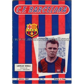 Programa CF Barcelona vs Athletic de Bilbao 02-02-1957