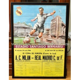 Cartel original Real Madrid vs AC Milan 29/01/1964 Copa de Europa