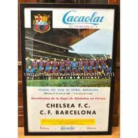 Cartel original CF Barcelona vs Chelsea FC 27/04/1966 Copa de Ferias