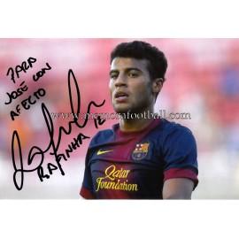 """""""RAFINHA"""" FC Barcelona fotografía firmada y dedicada"""