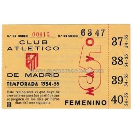 Recibo de socio del Atletico de Madrid 1953-1954