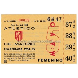 Voucher member of Atletico de Madrid 1954-1955