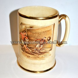 1930s Arthur Woods creamware, sporting series Football Tankard