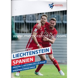 Liechtenstein vs Spain 2018 FIFA World Cup Qualifier Programme