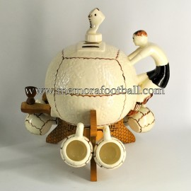 Ceramic football liquor decanter with accompanying cups